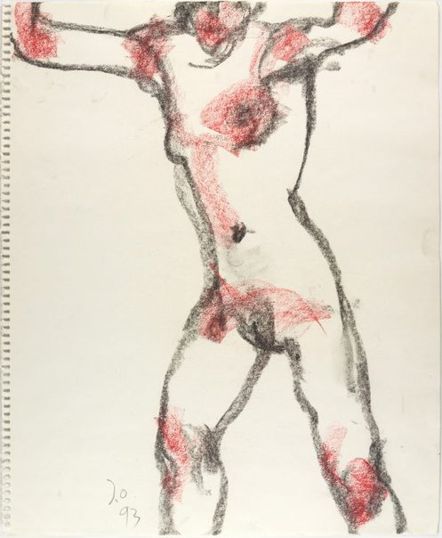 An image of Standing female nude, arms raised by John Olsen