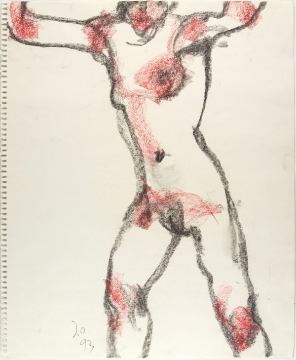 An image of Standing female nude, arms raised