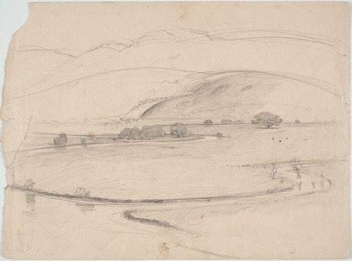 An image of recto: Study of farm gate verso: Illawarra landscape by Lloyd Rees
