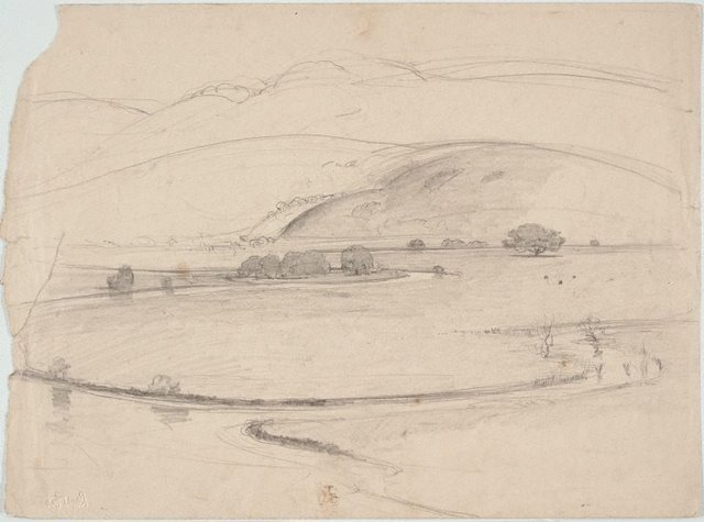 An image of recto: Study of farm gate verso: Illawarra landscape