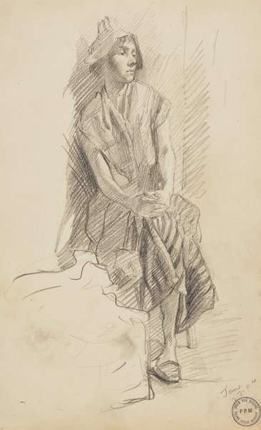 An image of Untitled (Woman in night cap sitting near bed) by Frank Mahony
