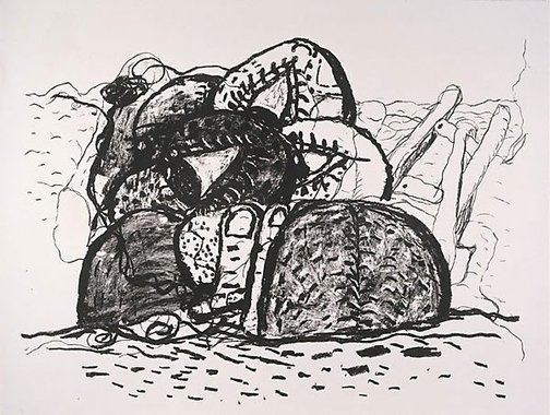 An image of Gulf by Philip Guston