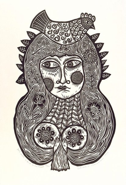 An image of Girl with a bird on her head by Barbara Hanrahan