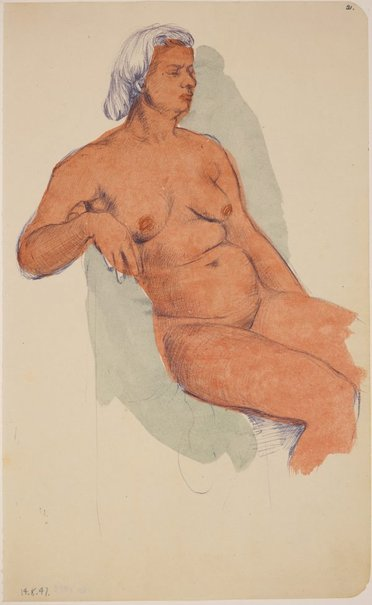 An image of Studies of the nude (Seated female nude) by James Gleeson