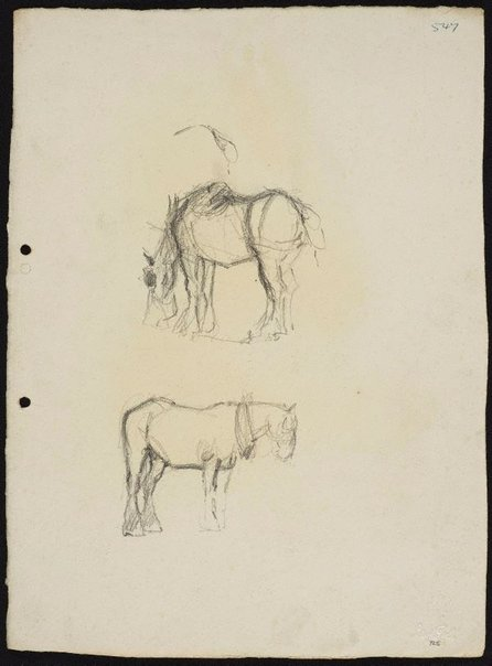 An image of recto: Two work horses verso: Arms pressing down [top] and Work horse with nosebag [bottom] by Lloyd Rees
