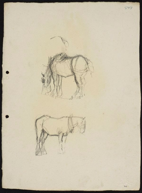 An image of recto: Two work horses verso: Arms pressing down [top] and Work horse with nosebag [bottom]