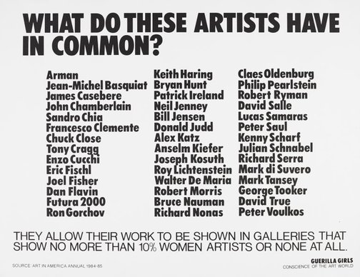 An image of What do these artists have in common? by Guerrilla Girls