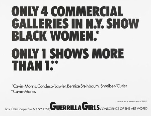An image of Only 4 commercial galleries in NY show black women by Guerrilla Girls