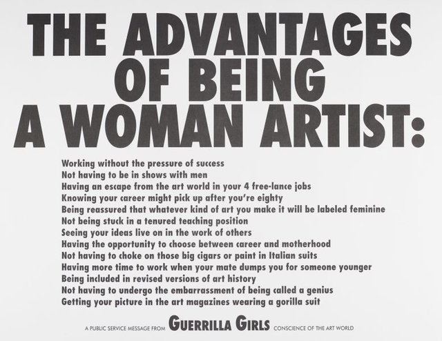 The advantages of being a woman artist, (1988), Portfolio Compleat 1985-2012 by Guerrilla Girls