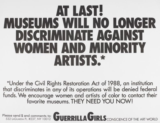 An image of At last! Museums will no longer discriminate against women and minority artists