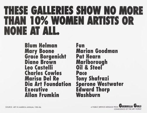 An image of These galleries show no more than 10% women artists or none at all by Guerrilla Girls