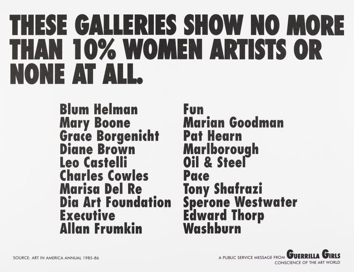 AGNSW collection Guerrilla Girls These galleries show no more than 10% women artists or none at all (1985) 150.2014.2