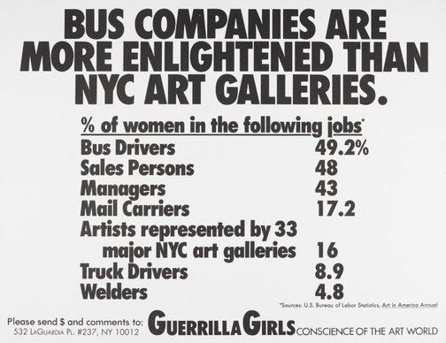 An image of Bus companies are more enlightened than NYC art galleries by Guerrilla Girls