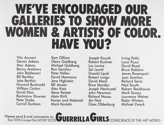 AGNSW collection Guerrilla Girls We've encouraged our galleries to show more women and artists of color. Have you? 1989
