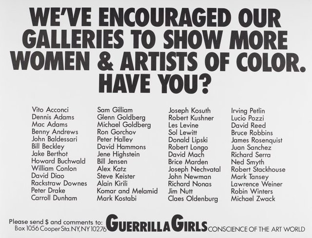 We've encouraged our galleries to show more women and artists of color. Have you?, (1989), Portfolio Compleat 1985-2012 by Guerrilla Girls