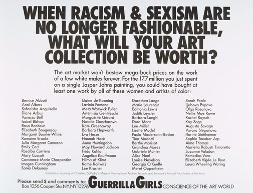 An image of When racism and sexism are no longer fashionable, how much will your art collection be worth? by Guerrilla Girls