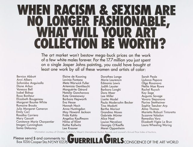When racism and sexism are no longer fashionable, how much will your art collection be worth?, (1989), Portfolio Compleat 1985-2012 by Guerrilla Girls