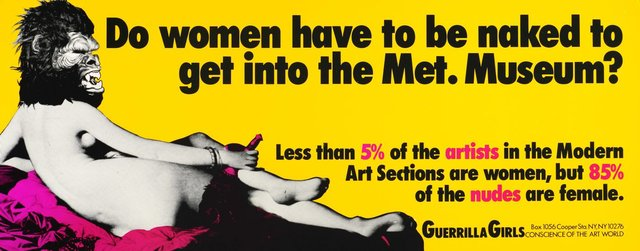 An image of Do women have to be naked to get into the Met. Museum?