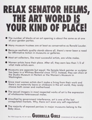 AGNSW collection Guerrilla Girls Relax Senator Helms, the art world is your kind of place! (1989) 150.2014.25