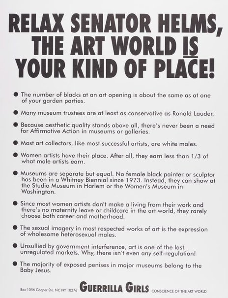 An image of Relax Senator Helms, the art world is your kind of place! by Guerrilla Girls