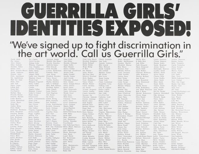 An image of Guerrilla Girls' identities exposed!