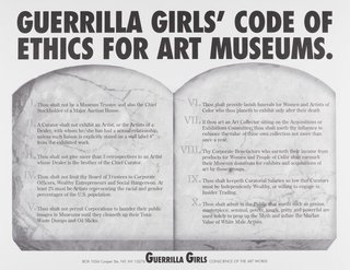 AGNSW collection Guerrilla Girls Guerrilla Girls' code of ethics for art museums (1990) 150.2014.28
