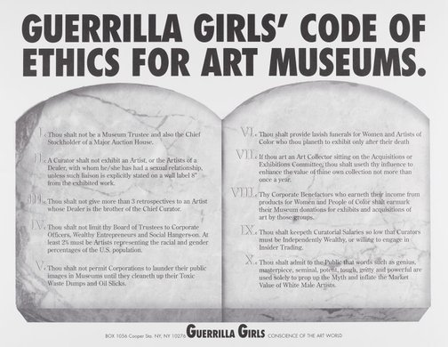 An image of Guerrilla Girls' code of ethics for art museums by Guerrilla Girls