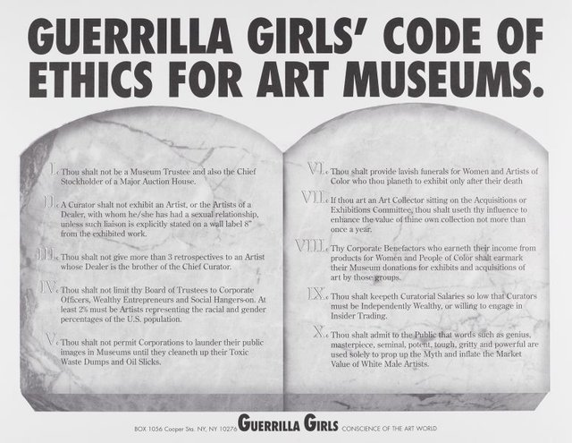 An image of Guerrilla Girls' code of ethics for art museums