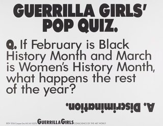 AGNSW collection Guerrilla Girls Guerrilla Girls' Pop Quiz 1990