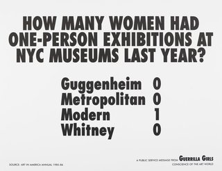 AGNSW collection Guerrilla Girls How many women artists had one-person exhibitions in NYC art museums last year? 1985