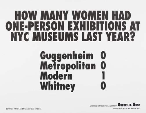 An image of How many women artists had one-person exhibitions in NYC art museums last year? by Guerrilla Girls