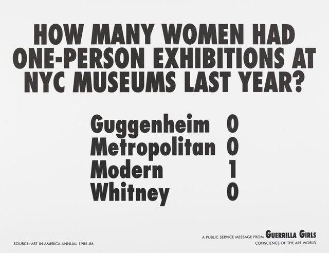 An image of How many women artists had one-person exhibitions in NYC art museums last year?