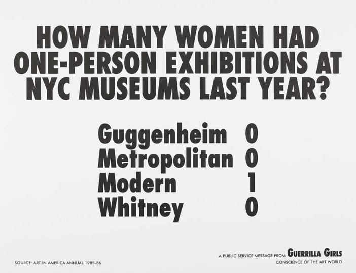AGNSW collection Guerrilla Girls How many women artists had one-person exhibitions in NYC art museums last year? (1985) 150.2014.3