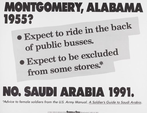 An image of Montgomery, Alabama 1955? by Guerrilla Girls