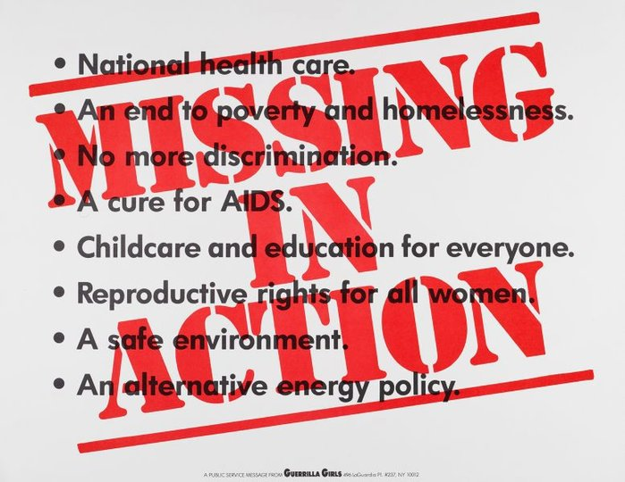 AGNSW collection Guerrilla Girls Missing in action (1991) 150.2014.32