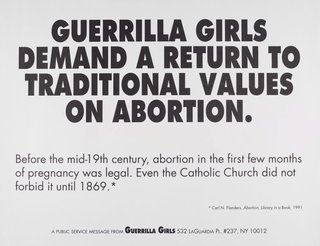 AGNSW collection Guerrilla Girls Guerrilla Girls demand a return to traditional values of abortion 1992