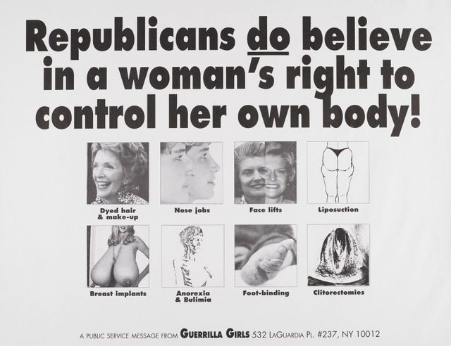 Republicans do believe in a woman's right to control her body, (1992), Portfolio Compleat 1985-2012 by Guerrilla Girls