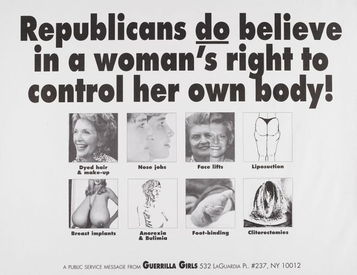 AGNSW collection Guerrilla Girls Republicans do believe in a woman's right to control her body (1992) 150.2014.37