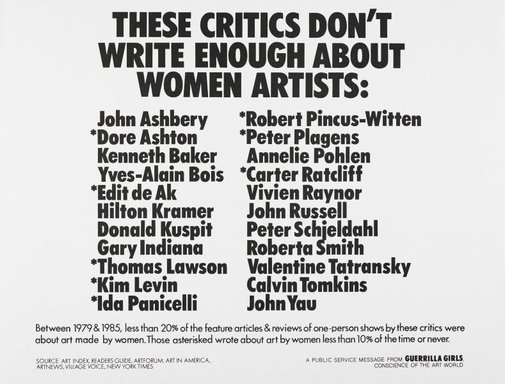 An image of These critics don't write enough about women artists by Guerrilla Girls