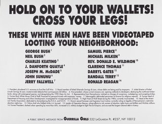 AGNSW collection Guerrilla Girls Hold onto your wallets! Cross your legs! 1992