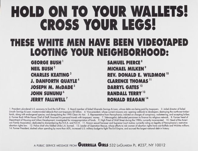 Hold onto your wallets! Cross your legs!, (1992), Portfolio Compleat 1985-2012 by Guerrilla Girls