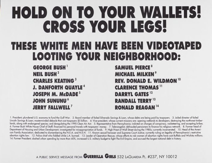 AGNSW collection Guerrilla Girls Hold onto your wallets! Cross your legs! (1992) 150.2014.40