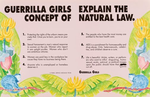 An image of Guerrilla Girls explain the concepts of natural law by Guerrilla Girls