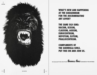 AGNSW collection Guerrilla Girls What's new and happening at the Guggenheim for the discriminating art lover? and Dear Mr. Krens postcard 1992
