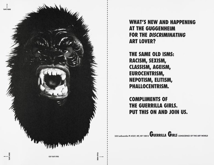 AGNSW collection Guerrilla Girls What's new and happening at the Guggenheim for the discriminating art lover? and Dear Mr. Krens postcard (1992) 150.2014.42.a-b