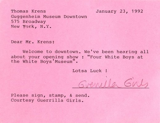Alternate image of What's new and happening at the Guggenheim for the discriminating art lover? and Dear Mr. Krens postcard by Guerrilla Girls