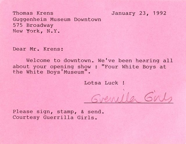 An image of What's new and happening at the Guggenheim for the discriminating art lover? and Dear Mr. Krens postcard