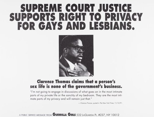 An image of Supreme Court Justice supports right to privacy for gays and lesbians by Guerrilla Girls