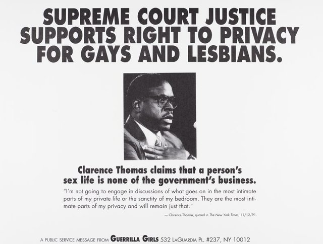 Supreme Court Justice supports right to privacy for gays and lesbians, (1992), Portfolio Compleat 1985-2012 by Guerrilla Girls