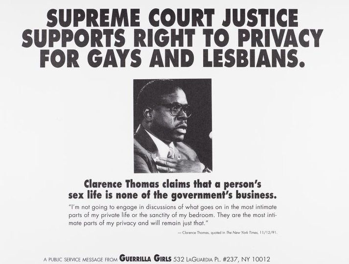 AGNSW collection Guerrilla Girls Supreme Court Justice supports right to privacy for gays and lesbians (1992) 150.2014.43